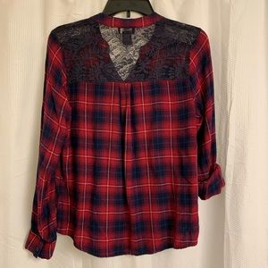 Deb - Lace Back Long Sleeve Plaid Shirt